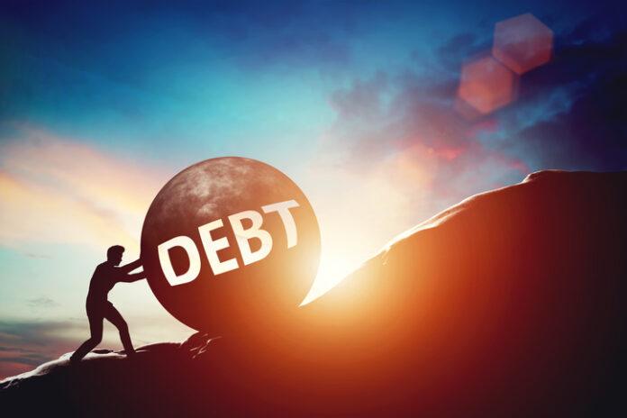 Debt problem. Man pushing huge concrete ball up hill. Financial problems concept. 3D illustration