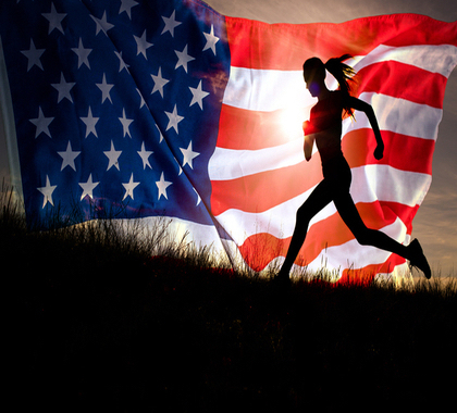 Health care freedom, woman running in front of American flag, election