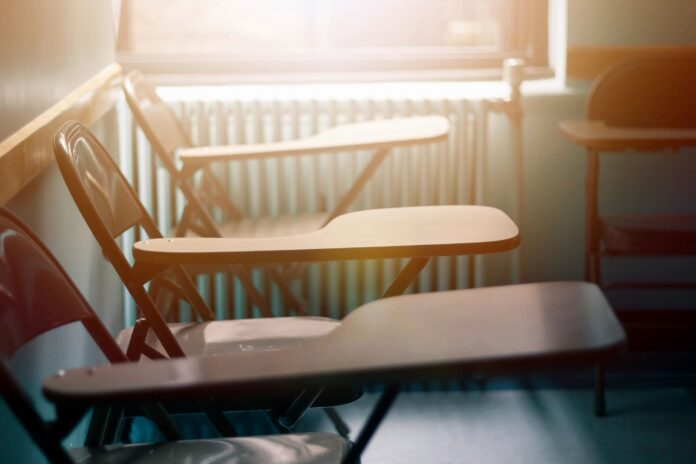 Empty desks in a Detroit classroom.