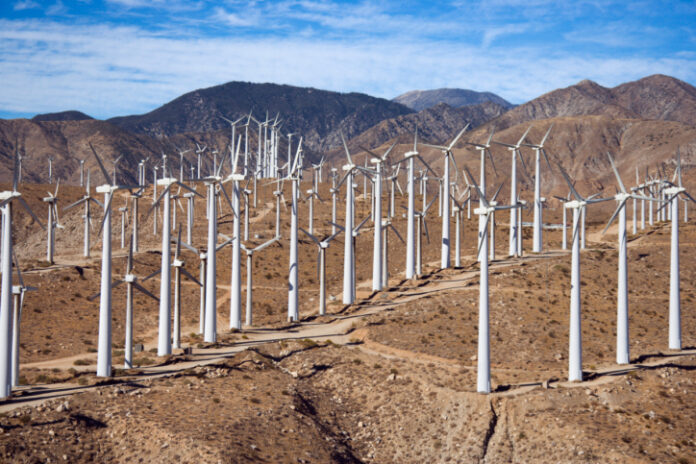 Wind Farm in Desert, renewable energy
