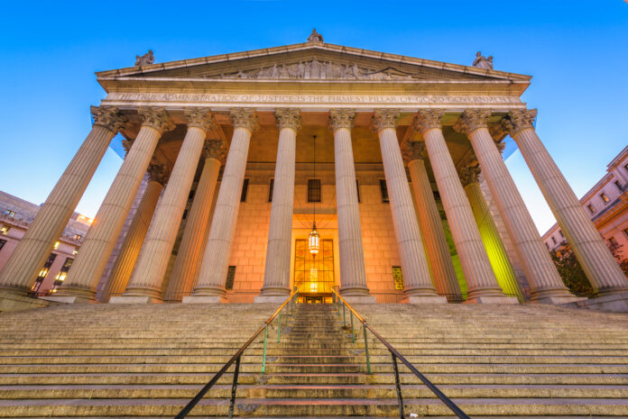 The New York Supreme Court in New York City, USA at twilight.