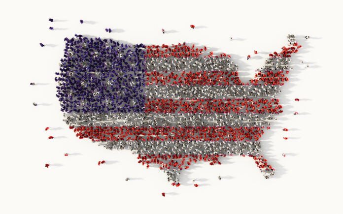 Large group of people forming The United States of America, social media concept. 3d illustration, socialism