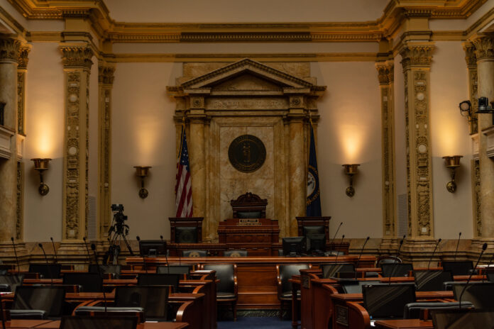Kentucky senate chambers inside the capitol building. Frankfort, KY.