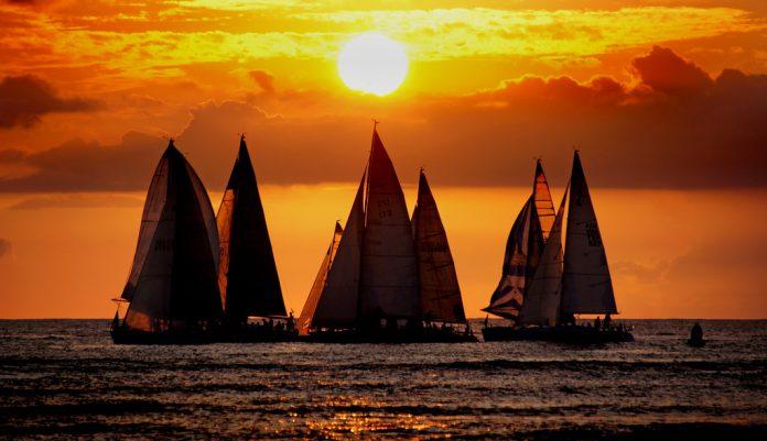 Sailing into the sunset. Hawaii