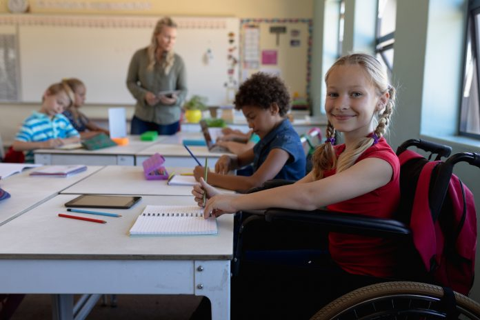 disabled student in public school classroom