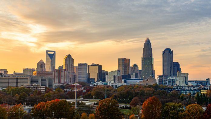 Charlotte, North Carolina just before sunset in the fall.
