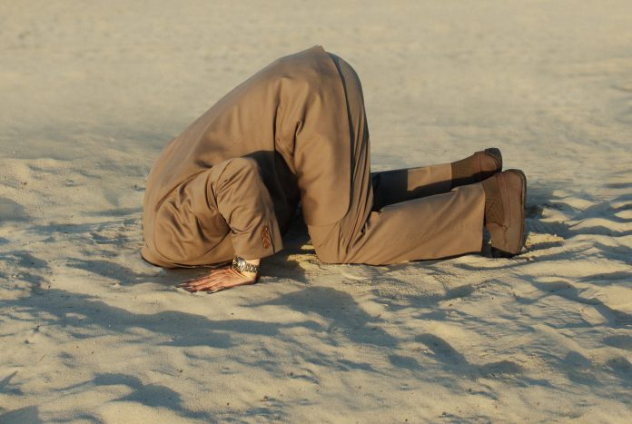 business man with his head buried in the sand, ignorance