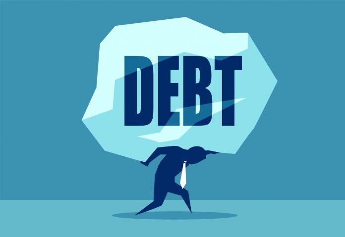 Concept vector picture of man under heavy rock of Debt.