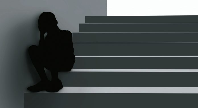 3D illustration image of depressive disorder boy shadow that serious thinking sit at stair corner